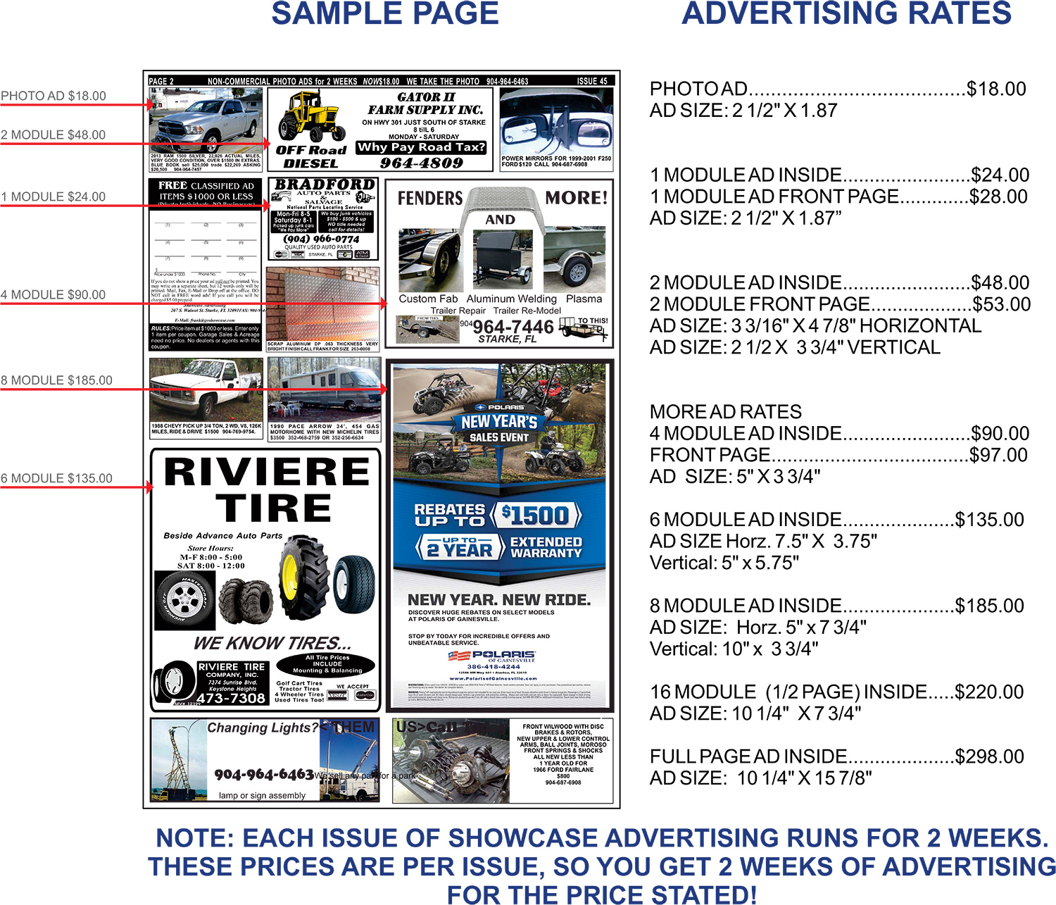 Advertising Rates - Click to Enlarge